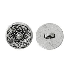 The Bead and Button Box - 6 Silver Tone Metal Pretty Design Buttons 15mm