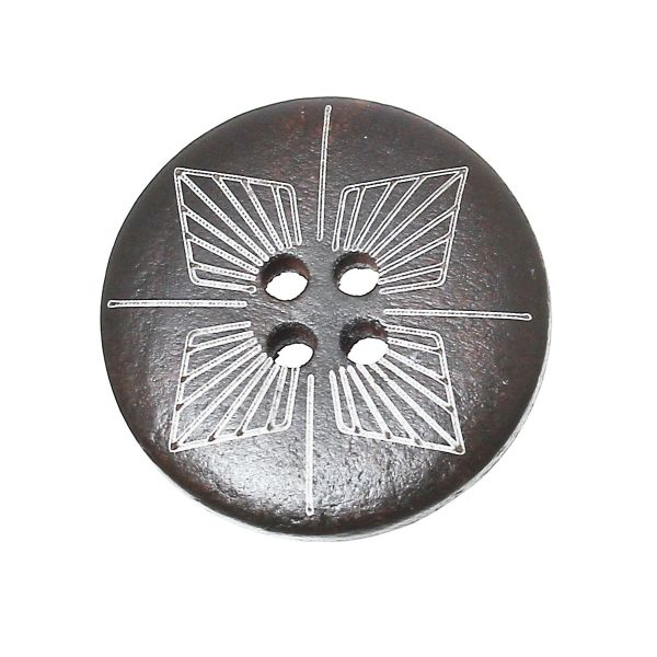 The Bead and Button Box - Dark Brown Wooden Geometric Etched Buttons 25mm