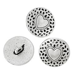 The Bead and Button Box - 6 Silver Tone Metal Pretty Heart Design Buttons 18mm
