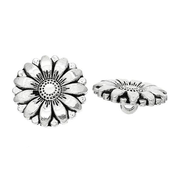 The Bead and Button Box - 6 Silver Tone Metal Sunflower Buttons 18mm