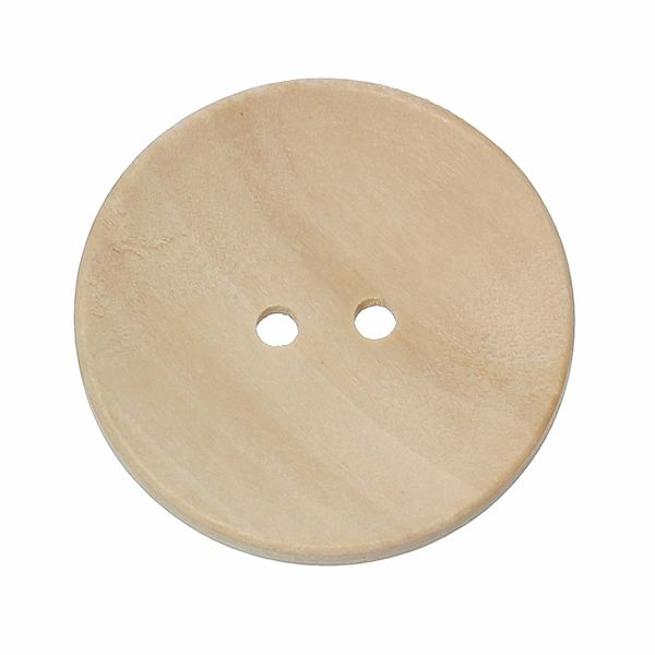 The Bead and Button Box - 10 Natural Wood Buttons, 30mm (3cm). Sewing, embellishments and other crafts. Can be painted, varnished or left natural
