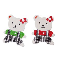 The Bead and Button Box - 6 Assorted Colour Wooden Teddy bears in check Trousers 3.5cm