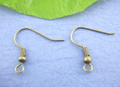 The Bead and Button Box - 100 bronze Fish French Hook Earring Wires 18mm (50 Pairs). Great for Jewellery making