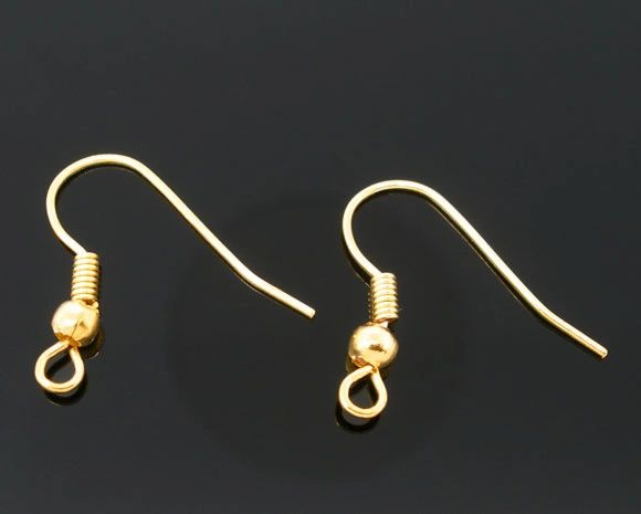 The Bead and Button Box - 100 Gold Plated Fish French Hook Earring Wires 18mm (50 Pairs). Great for Jewellery making