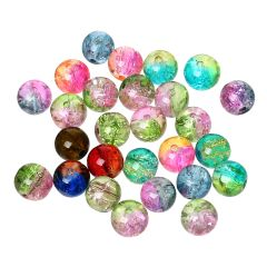 The Bead and Button Box - 100 Beautiful Crackle Beads. 8mm. Mixed Split Colour. Ideal for Jewellery making, home decor and other craft projects.
