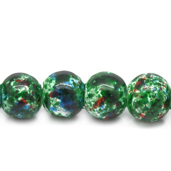 The Bead and Button Box - 45g Dark Green Colour Glass Marbled Beads 6mm. I deal for Jewellery Making, Decoration and other Crafts.