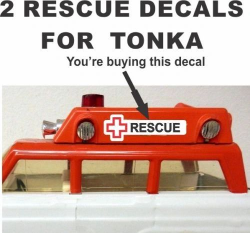 Vintage Pressed Steel Jeep Wagoneer Station Wagon Ambulance Rescue Decals For Tonka