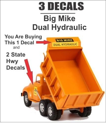 Vintage Tonka Dump Truck Big Mike Dual Hydraulic Decal and State Hwy 3 Decal Set