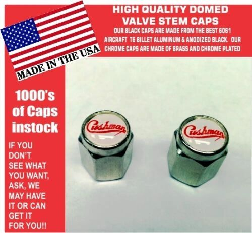 2 Domed Chrome Cushman Scooter Truckster Silver Eagle Valve Stem Caps UNIQUE