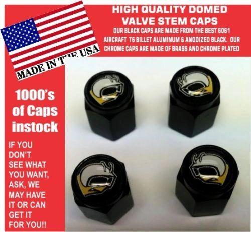 4 Domed Aluminum Rumble Super Bee Mopar Challenger Charger Valve Stem Caps