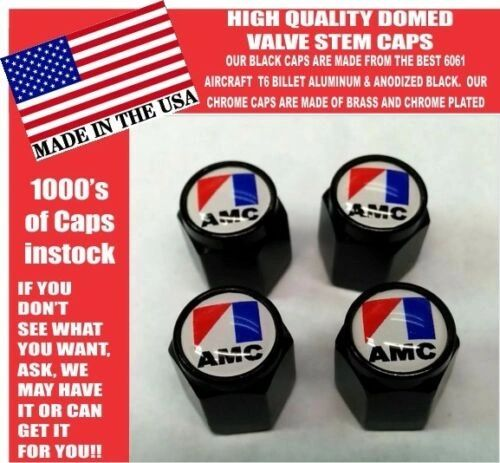 AMC American Motors Black Billet Valve Stem Caps -Very Nice! Unique
