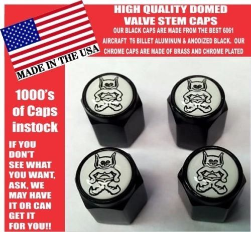 AMC AMX American Motors Gremlin Black Billet White Valve Stem Caps - Unique