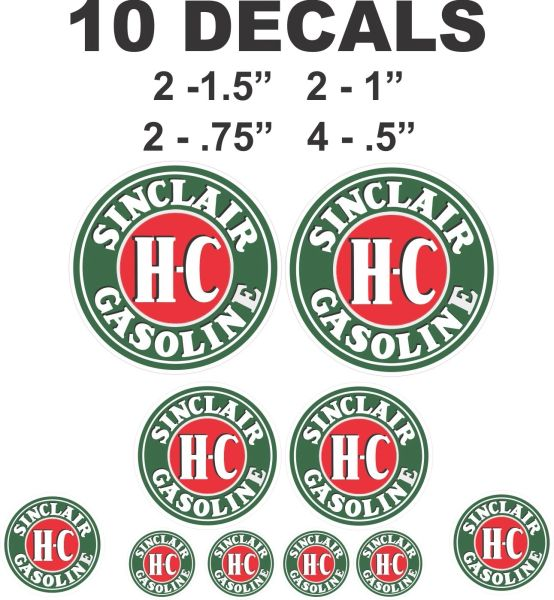 10 HC Sinclair Gasoline - Great for scale models, gas / oil cans or dioramas
