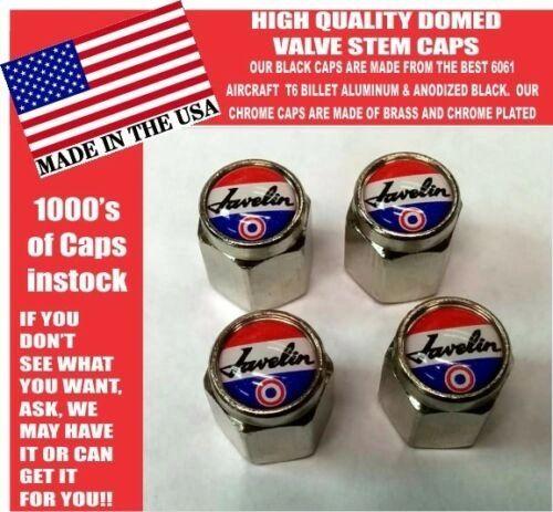 AMC Javelin Tri Color American Motors Chrome Valve Stem Caps - Very Nice