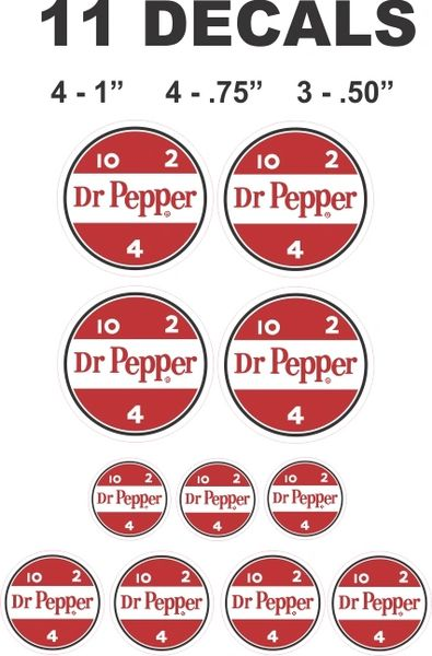 11 Dr Pepper Decals, Great For Dioramas - Gumball Machines and more