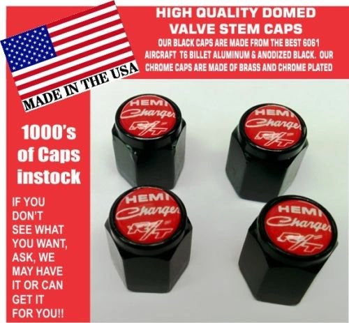 Billet Dodge Charger Hemi RT SRT Hellcat Mopar Reline Red Valve Stem Caps - Nice