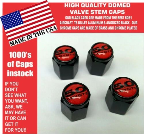 Billet For Ford 5.0 Red Coyote Mustang Cobra Shelby GT Valve Stem Caps