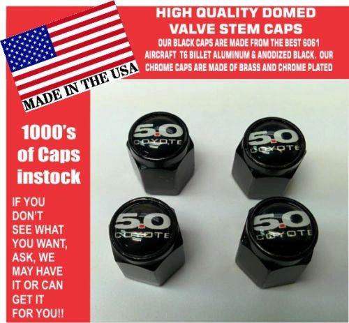 Billet Ford 5.0 Black Coyote Mustang Cobra Shelby GT Valve Stem Caps
