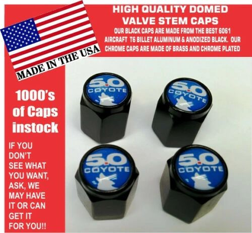 Billet Ford 5.0 Blue With Coyote Mustang SVT Cobra Shelby GT Valve Stem Cap