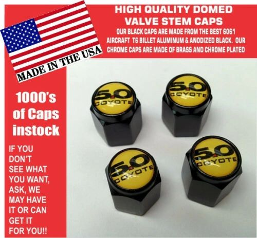 Billet Ford 5.0 Yellow Coyote Mustang Cobra Shelby GT Valve Stem Caps Nice