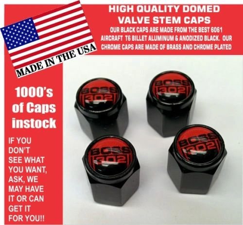 Billet Ford Boss 302 5.0 Red Coyote Mustang Cobra Shelby GT Stem Caps