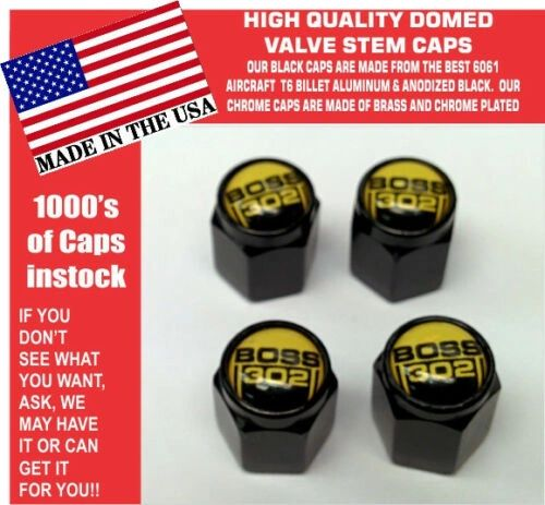 Billet Ford Boss 302 5.0 Yellow Coyote Mustang Cobra Shelby GT Stem Caps