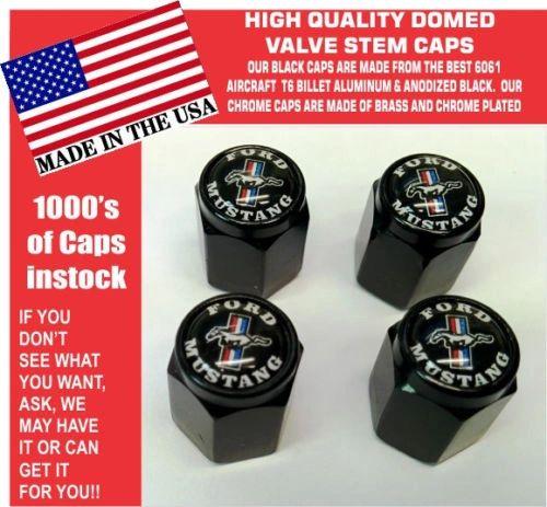 Billet Ford Mustang 289 302 429 Shelby Cobra GT GT350 Black Stem Caps