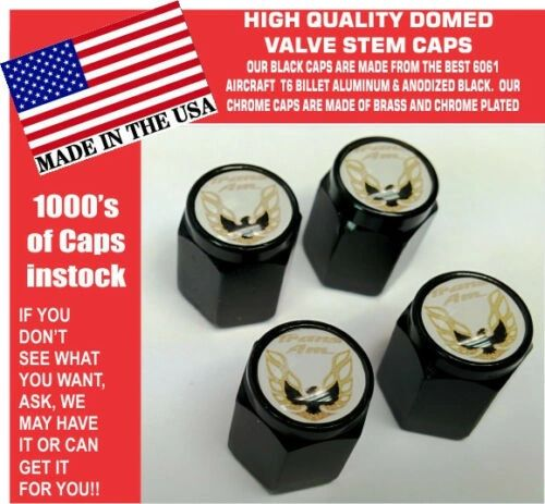 Billet Pontiac Trans Am TransAm Formula Firebird Black Gold Valve Stem Caps NICE