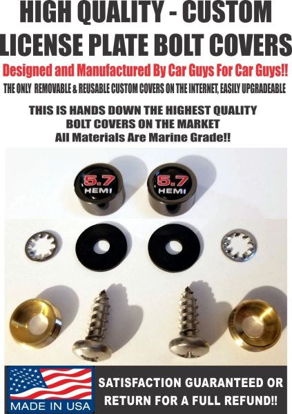 BK License Plate Screw Covers For Dodge Challenger 5.7 Hemi Charger SRT Mopar