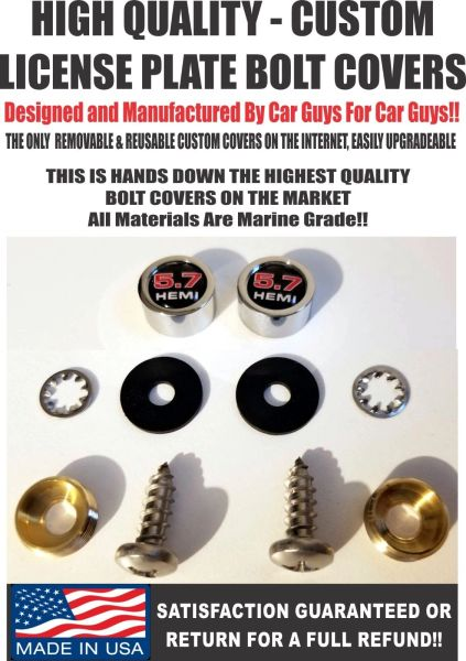 CH License Plate Screw Covers For Dodge Challenger 5.7 Hemi Charger SRT Mopar