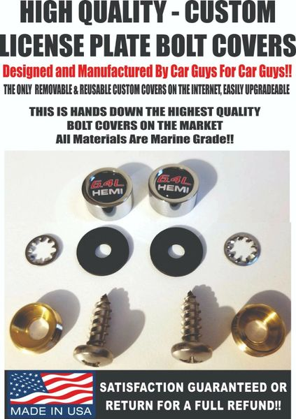 CH License Plate Screw Covers For Dodge Challenger 6.4 Hemi Charger SRT Mopar