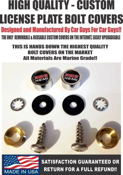 CH License Plate Screw Covers For Dodge Challenger 392 Hemi Charger SRT Hellcat