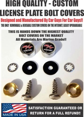 CH License Plate Screw Covers For Dodge Challenger RT R/T Hemi Charger SRT Hellcat Demon