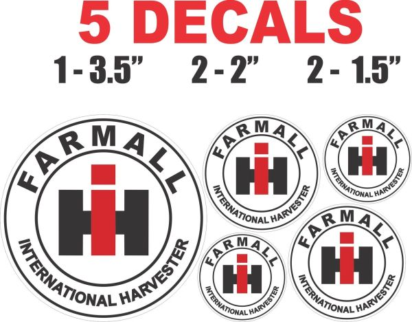 5 Farmall International Harvester Decals Round