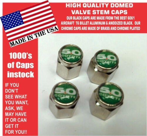 Chrome Fits Ford 5.0 Green Coyote Mustang Cobra Shelby GT Valve Stem Caps