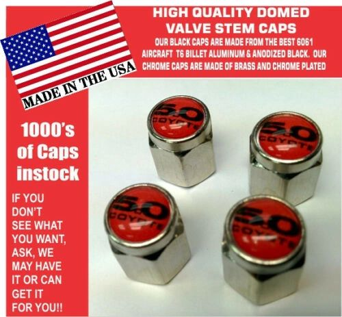 Chrome Fits Ford 5.0 Red Coyote Mustang Cobra Shelby GT Valve Stem Caps