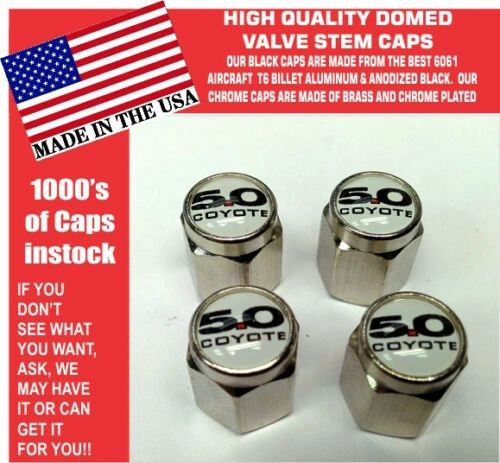 Chrome Fits Ford 5.0 White Coyote Mustang Cobra Shelby GT Valve Stem Caps