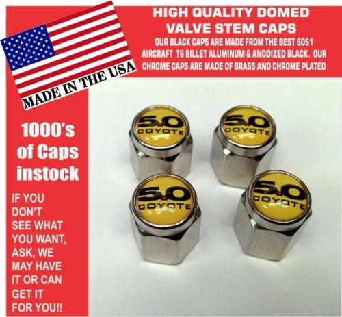 Chrome Fits Ford 5.0 Yellow Coyote Mustang Cobra Shelby GT Valve Stem Caps