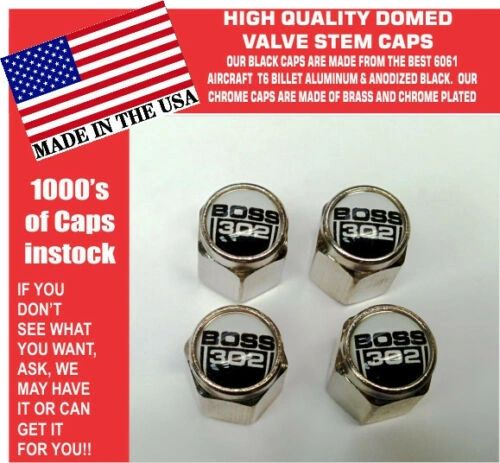 Chrome Fits Ford Boss 302 5.0 White Coyote Mustang Cobra Shelby GT Stem Caps