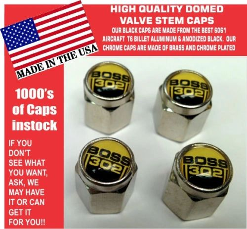 Chrome Fits Ford Boss 302 5.0 Yellow Coyote Mustang Cobra Shelby GT Stem Caps