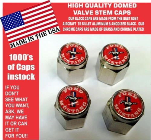 Chrome Fits Ford Mustang 289 302 429 Shelby Cobra GT GT350 Red Stem Caps