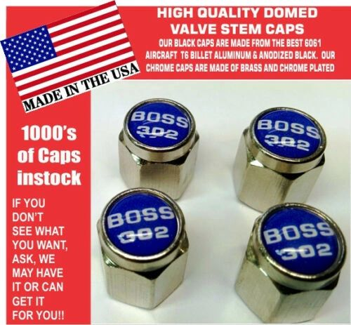 Chrome Fits Ford Mustang Tribute Fastback 302 Blue Valve Stem Caps - Nice