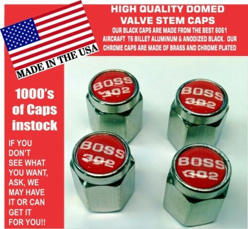 Chrome Fits Ford Mustang Tribute Fastback 302 Red Valve Stem Caps Nice