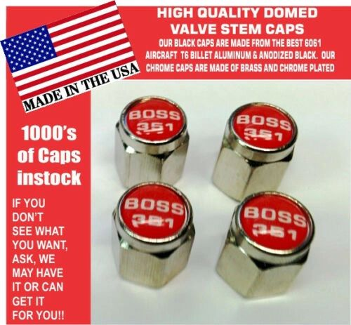 Chrome Fits Ford Mustang Tribute Fastback 351 Red Valve Stem Caps - Nice