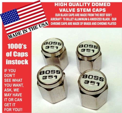 Chrome Fits Ford Mustang Tribute Fastback 351 White Valve Stem Caps - Nice
