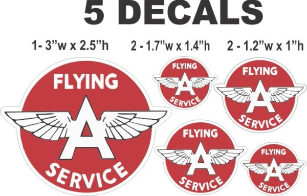 5 Vintage Style Flying A Service Decals