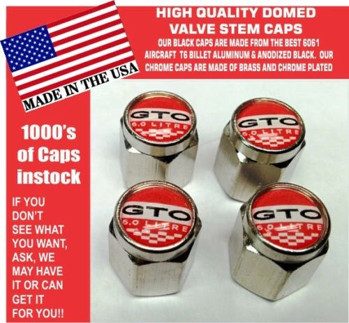 Chrome Pontiac GTO 6.0 LS2 Red Valve Stem Caps All Metal