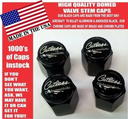 Oldsmobile Cutlass Supreme 442 Olds Billet Black w white Valve Stem Caps - Nice!