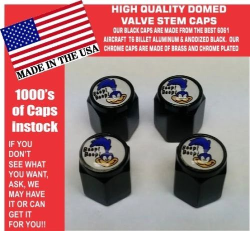 4 Black Billet Aluminum Domed Plymouth Super Bird Road Runner Valve Stem Caps