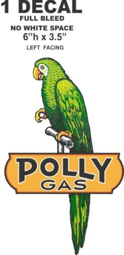 "Polly Gas Bird Left Facing - 6"" Tall Full Bleed - No white Space"